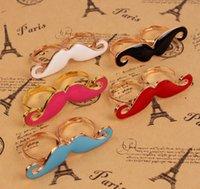 double finger ring - Hot Sale Alloy Double Beard Open Ring Black Enamel Moustache Finger Ring