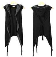 Wholesale Fall New Men Vest Black With a Hood Belt Sleeveless Summer Thin Cardigan Fashion Night Club Costumes Open Stitch Black Vest