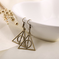 Wholesale Min order pair Harry Potter Deathly Hallows Drop Earrings Vintage Alloy Jewelry Triangle Pendant Horcrux for Women Luna Lovegood
