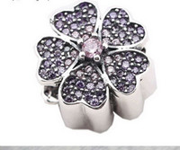 Wholesale Christmas Gift Pandora Sterling Silver Beads Purple Cherry Blossom Murano Pendants Beads Flower European Charms bead