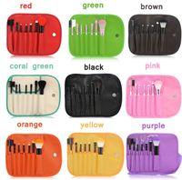 Wholesale 2016 Makeup Brushes Make Up Brush Set Kits Eyelash Brush Blush Brush Eye shadow Brush Sponge Sumudger Make Up Tools PU Bag