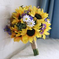 artificial handmade flowers - 2016 Elegant Handmade Artificial Yellow Sunflower Flower Calla Wedding Bouquet For Bride And Bridesmaids Hand Holding Flower Bride Accessory