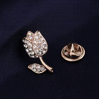 amber roses - Free postage new fashion mini roses rhinestone collar pin brooch Foreign trade sales brooch shelf