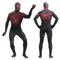 red zentai catsuit - Fantasy Adult Men Red Gray Spider Print Costume Full Body Lycra Spandex Zentai Catsuit Spiderman Superman Halloween Cosplay XL