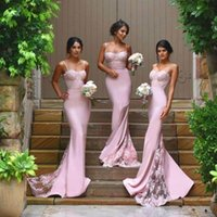 Wholesale Blush Pink Mermaid Bridesmaid Dresses Sexy Sweetheart Spaghetti Lace Satin Sweep Train Custom Made Backless Wedding Dresses Party Dress