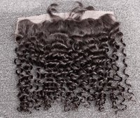 Wholesale 13 Lace Frontal Closure Unprocessed Brazilian Human Hair Extensions Curly Wave Ear To Ear Lace Frontal Closure A Fast Shipping inch
