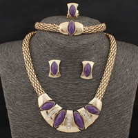 Wholesale k Gold Plated Vintage Jewelry Sets For Women Color Resin Crystal Necklace Bracelet Stud Earring Ring