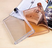 Wholesale 2015new type Memobottle Clear A5 Memo Book Paper Bottle Flat Portable Water Bottle Cup Kettle FReeshipping