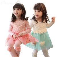 Summer ruffle yarn - 2015 Beautiful Girls D Rose Flower Tutu Dresses Kids Princess Lace Ruffles Tulle Skirt Child Clothes Net Yarn Pearl Long Sleeve Pettiskirt