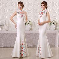 custom made cheongsam - 2015 BEAUTIFUL Chinese Silk Formal Evening Pageant Dresses Mermaid Gown White Cheongsam custom made