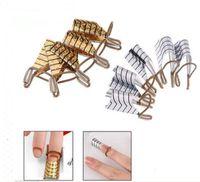Acheter Ensemble acrylique double forme-Gros-5pcs / set réutilisable double Argent / Or formulaire ongles pour nail art Making C Courbe acrylique Conseils français