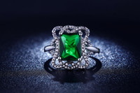 big gem rings - White Gold Plated Wedding Rings For Women jewelry Green gem inlaid big CZ Diamond Engagement Bague Bijoux Luxury MSR203