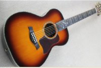 Wholesale Hot Sale Tobacco Sunburst Folk Acoustic Guitar with Mahogany Neck and Flower Fret Marks Inlay Can be Customized