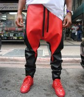 Wholesale mens pu leather pant swagdrop crotch pants men west pants hip hop joggers streetwear sport trousers black and red