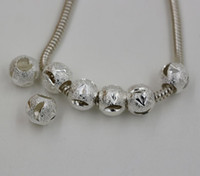 Wholesale Hot Plated silver Carved Moon Dull Polish Spacer Big Hole Beads Fit Charms Bracelet x mm Hole mm ab704