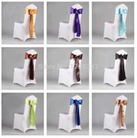 Wholesale 200 Peach Color Satin Chair Sash Chiar Ribbon For wedding chair Banquet decoration DHL Fedex ET325