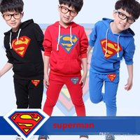Cheap 2015 new 2pcs surperman Hooded Sweater Children's Outfits baby children boys'Clothing sweatershirts 2015 spring cool boy costume h