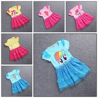 Wholesale Samgami baby Girls My little pony short sleeve dress kids girl sequins lace dresses with cartoon printing Sa0036