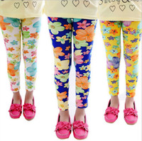 Wholesale 2015 Hot Spring New Arrival Colors Baby Girls Leggings Kids Flowers Printed Children Begonia Floral Tights Girl Legging Pants