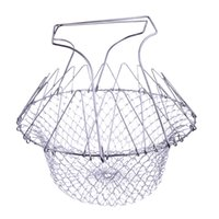 Wholesale Convenient Foldable Steam Rinse Strain Fry Chef Basket Strainer Net Kitchen Cooking Tool