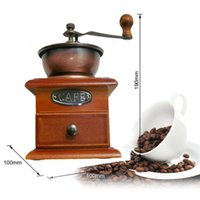 Wholesale 100 Brand New Antique Manual Coffee Mill Wood Stand Bowl Hand Coffee Grinder Coffee Mill Bean Machine