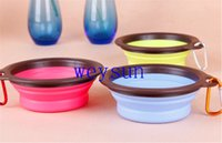 Wholesale Pet Dog Cat Bowl Puppy Drinking Collapsible Easy Take Outside Colors Feeding Water Feeder Travel Bowl Dish
