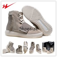 Wholesale Drop Shipping Kanye West Yeezy Boost Suede Mens Athletic Casual Martin Boots Grey White