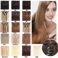 Wholesale Clip in Hair Extension inch set g Heat Resistance Fibre Straight Hair Clip In Synthetic Hair Extension