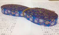 achat en gros de jacquard ruban 16mm-Nouveau 2014 dentelle 5/8 '16mm 10yard / set 100% polyester ordinateur jacquard ruban bleu fleur M13407