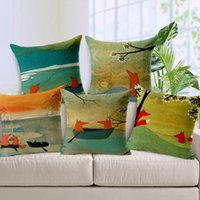 Wholesale Cute Fox Pattern Invisible Zipper Linen Cotton Pillow Case Set Square Cushion Cover Livingroom Bedroom EHE89