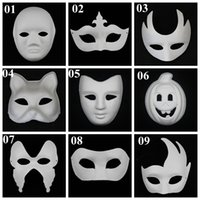 face paint - DIY mask hand painted Halloween white face mask Zorro crown butterfly blank paper mask masquerade cosplay mask draw party mask props