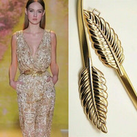Wholesale 2015 leaves of metal belt buckle and major suit lady decoration elastic spring type gold gown thin belts dress belts