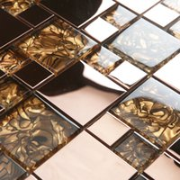 Wholesale GM20 Crystal tile shell stainless steel puzzle background wall glass mosaic