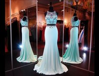 Cheap Real Photo Amazing Aqua Crop Top Two Piece Prom Dresses With Sheer High Beaded Neckline Zipper-up Evening Dresses 2015 Pageant Dresses L1247