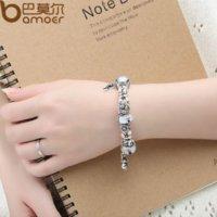 Bamoer plata exquisita pulsera de cuentas de cristal con la cadena de seguridad gato encanto animal Auténtico joyas pulsera PA1834