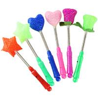 Wholesale Stars Roses Love Shape Flashing Blinking LED Light Up Wand Sticks Party Rave