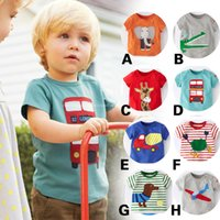 Cheap free shipping unisex tees soft animal print cute round neck short sleeve tees 8 colors for 1-6 kids girls t shirt boy