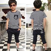 anchor blue clothing - Korean children s clothing summer baby boy navy stripe suit anchor piece