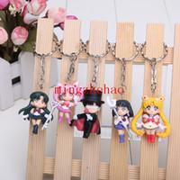 Wholesale set cm Anime Sailor Moon Figure Keychains key ring PVC Action Figure Collectible Toys Dolls pendant