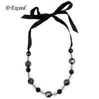 Collier court breloque en soie noire, blanc, noir Collier en perles acrylique beaded, collier en or 18 carats, plaqué or NL160234