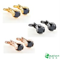 Wholesale Cufflinks Black Agate Gemelos Cufflinks for Men Shirt cuff cufflinks Fashion Flower Design Gift cufflink