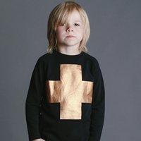 Wholesale 2016 baby boy nununu bronzing cross T shirt kids girl INS popular long sleeve cotton black shirt
