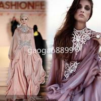 abayas kaftans - 2016 New Arrival Fashion Long Sleeve Chiffon Beaded Muslim Kaftans Evening Dress Dubai Maxi Eslamc Abaya