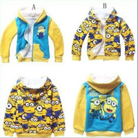 Wholesale Coral Boys Hoodies - DHL FEDEX Despicable Me Minions hoodie kids boys girls Thickening Coral Fleece Winter Warm hoodies sweatshirt childrens jacket coat BY0000
