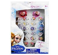 Wholesale Fashion and popular Frozen Elsa Anna Fashion Finger Ring Children s Cartoon Baby Girl s Ring Heart Shape Adjustable Rings box set