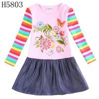 Cheap winter flower girls dress long sleeve girl denim dresses embroidery nova kids clothing wholesale baby girls party dresses H5803 H4235
