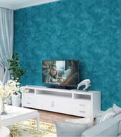 Wholesale American country vintage dark blue non woven wallpaper plain solid color TV background bedroom living room Mediterranean blue