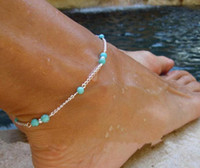 beads sandals - 2015 New Unique silver Anklet chains ankle bracelet hot Imitation Turquoise Beads Infinity barefoot sandals stretch anklet Foot Jewelery