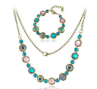 Wholesale Fashion Jewelry Hot Sale Jewelry Sets Necklace Pendant Bracelet For Women resin Vintage Jewelry BK068