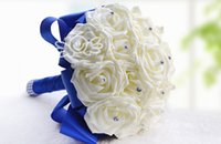 Cheap 2015 New Arrival Wedding Bouquet Crystals Handmade Silk Rose High Quality Artificial Decoration Bride Holding Bridesmaid Flowers WF001